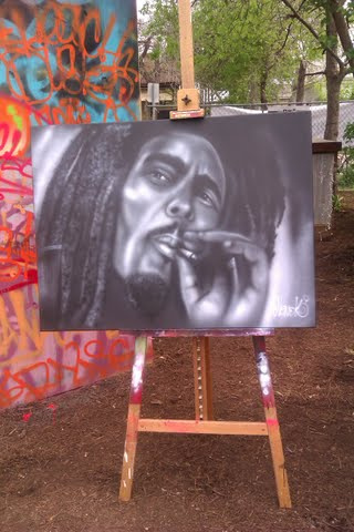 "Marley painted LIVE at SXSW in TX 2012. Original 30""x40"" painting (SOLD)"